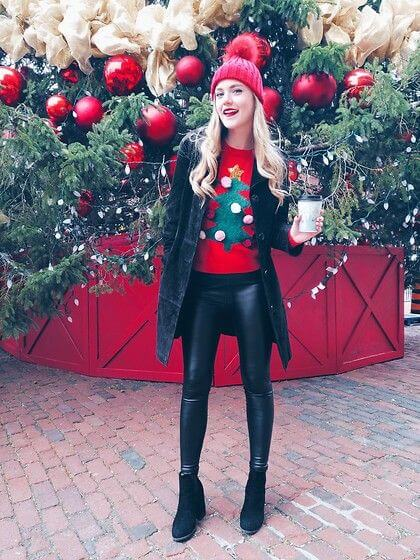 christmas casual leather pant outfit ideas for females