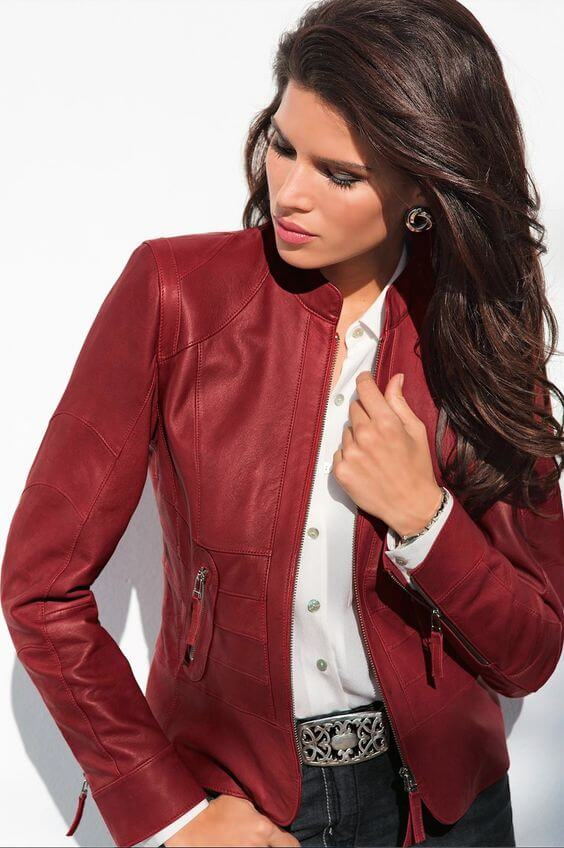 christmas leather jacket outfit ideas for females