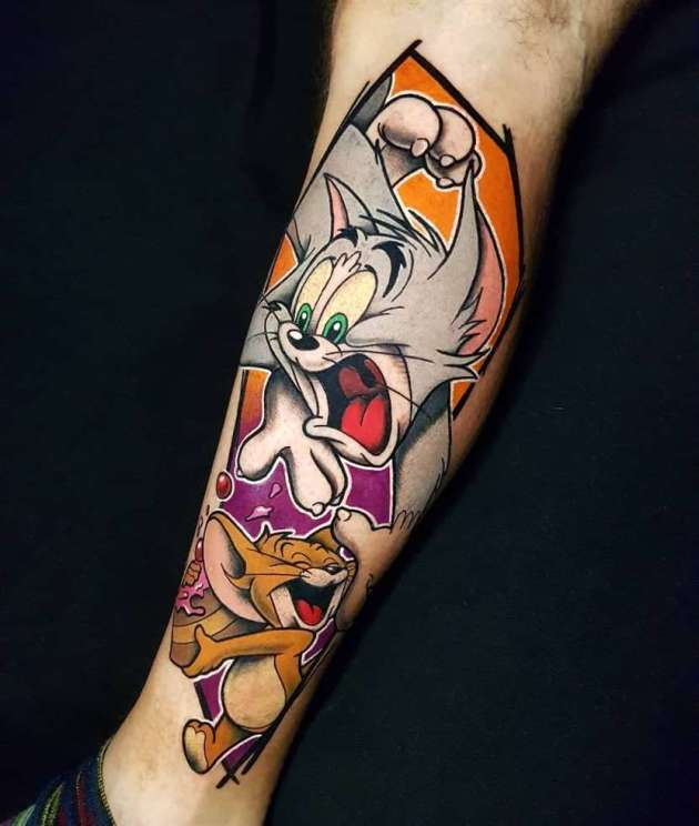 colorful tom and jerry cartoon tattoo design