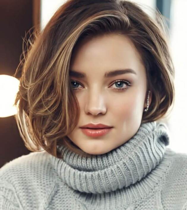 cute bob hairstyle for winter
