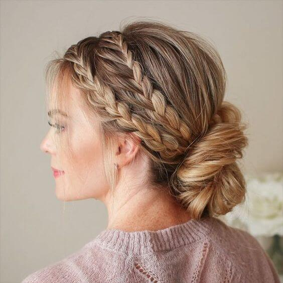 cute small braids with bun hairstyle for winter