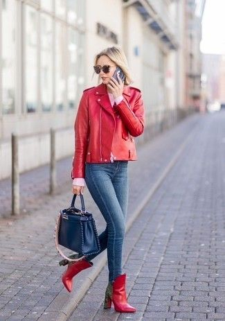 female laser cut leather jacket outfit ideas for christmas