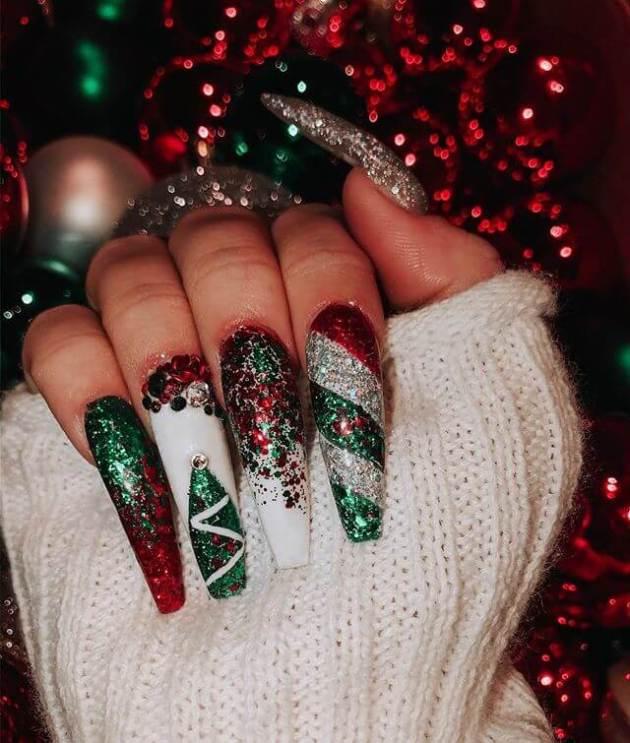 festive glitter acrylic coffin christmas nails