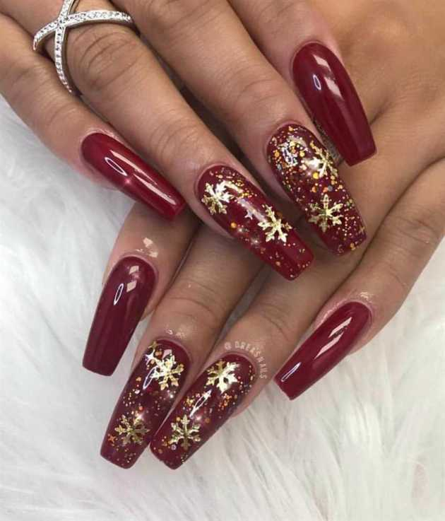 golden glitter and snowflakes red acrylic coffin christmas nails