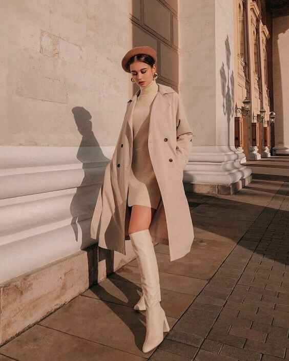 beige sweater and coat with beige boots outfit