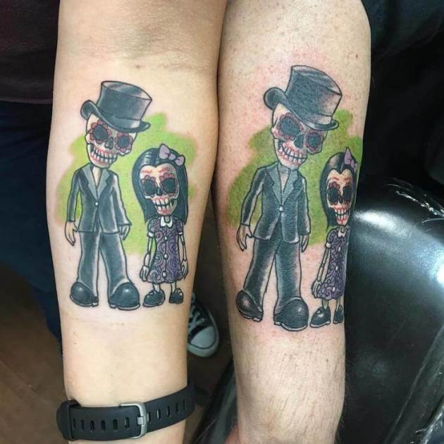 matching day of the dead father daughter tattoos