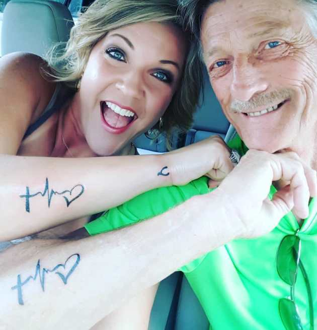 matching faith hope love father daughter tattoos on side forearm