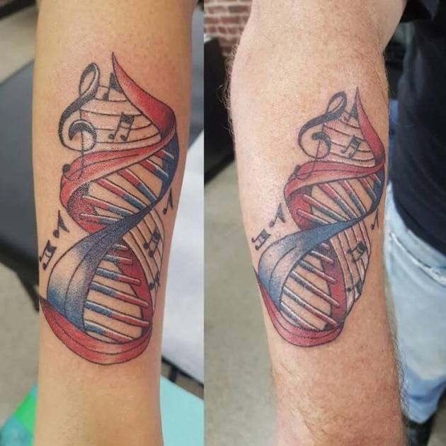 matching music notes with dna father daughter tattoos on arm