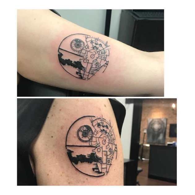 matching star wars father daughter tattoos on arm