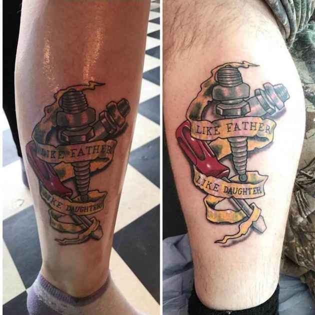 matching tools father daughter tattoos on leg