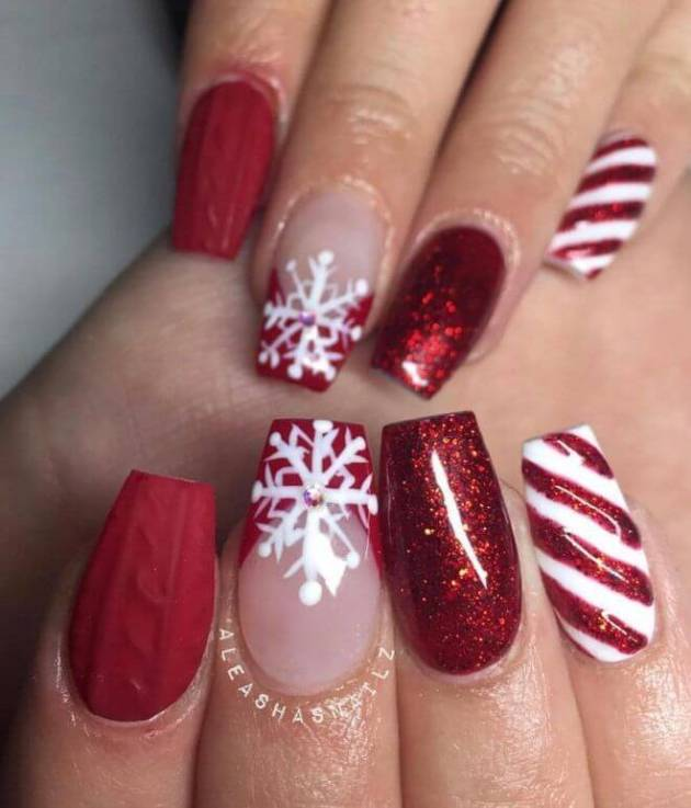 nude and red glitter acrylic coffin christmas nails