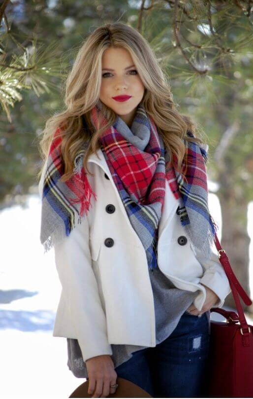 plaid christmas scarf with outfit ideas for females