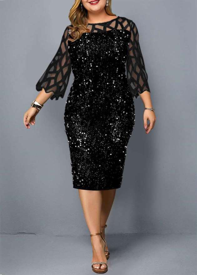 bottle green sequin with mesh sleeves plus size christmas party dress