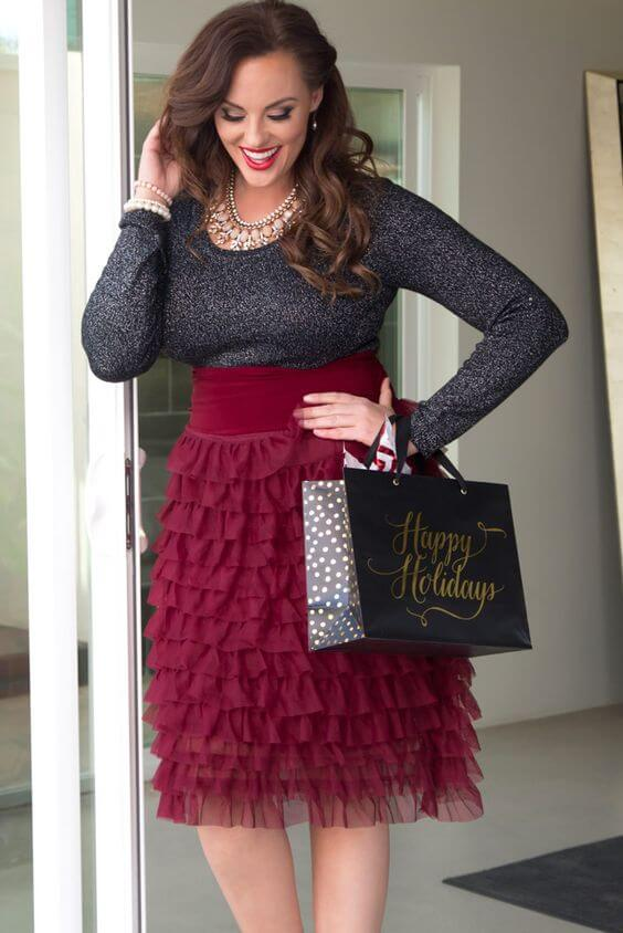 plus size christmas party grey and maroon tulle skirt outfit
