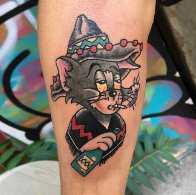sad face tom cartoon tattoo design