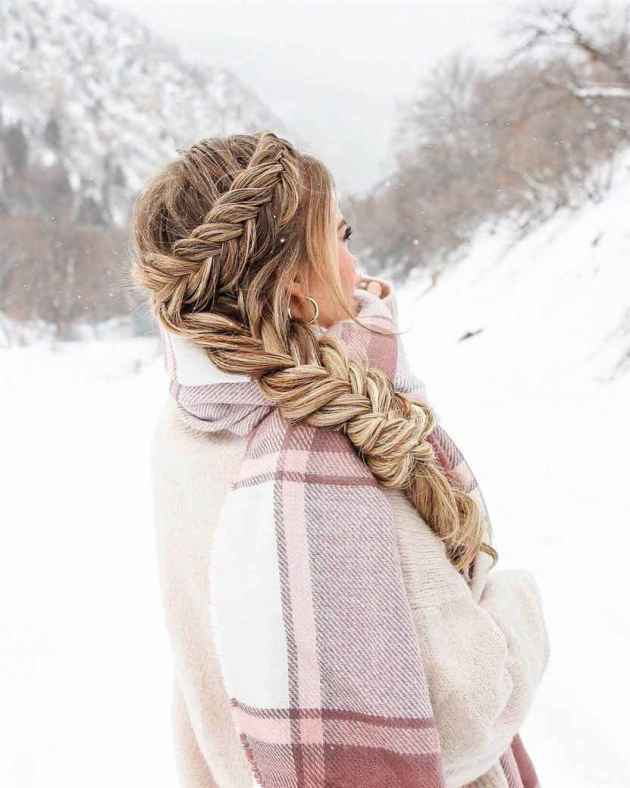 side braid dutch and fishtail hairstyle for winter