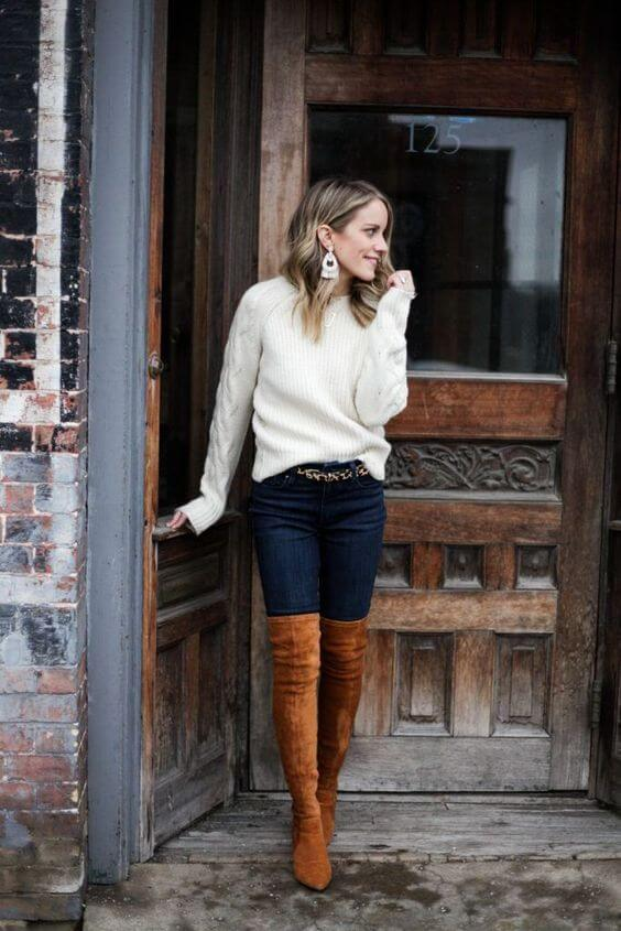 white sweater winter outfits with brown suede boots
