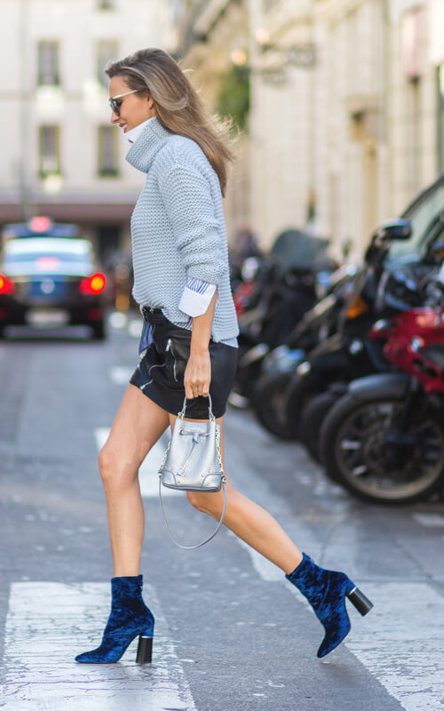 cute blue ankle boots with sweater and short skirt outfit