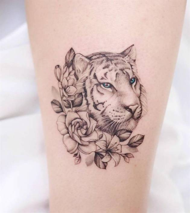 tiger with freesia flower tattoo design