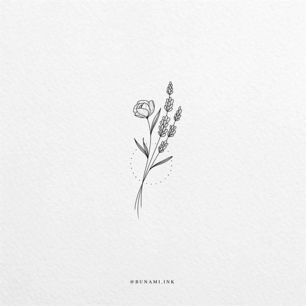 tiny lavender sprig flower tattoo sketch