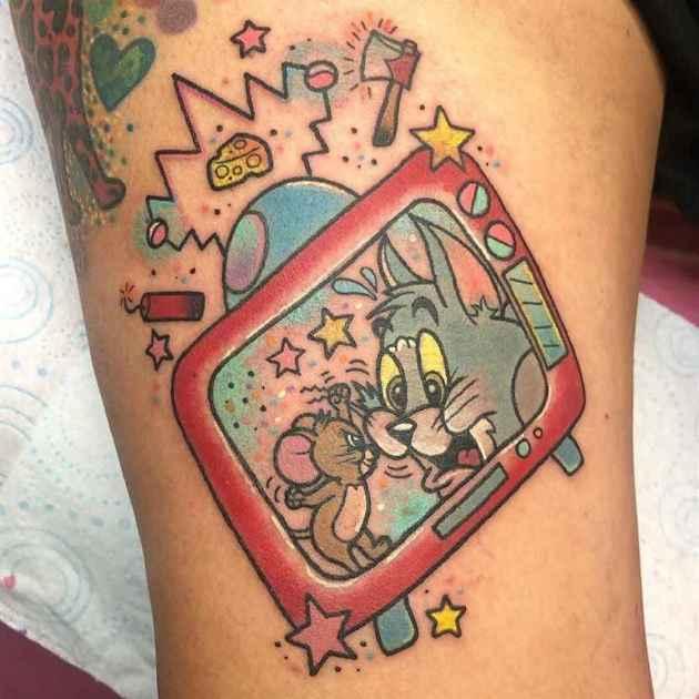 tom and jerry cartoon tv tattoo design