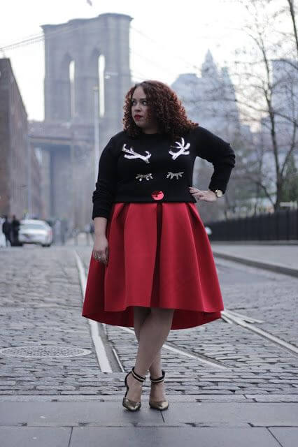 reindeer black ugly christmas sweater with red midi skirt plus size fashion