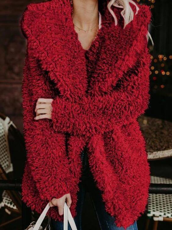 women's casual faux fur turndown collar hooded coat ideas for christmas