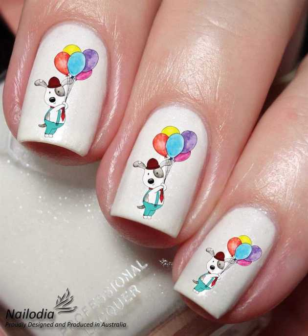 cute birthday balloon sticker nails design