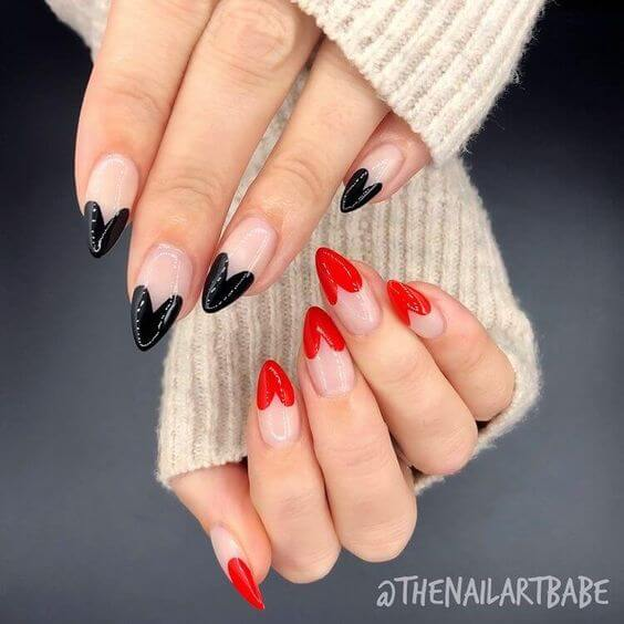 black and red hearts french tips nude nails manicures