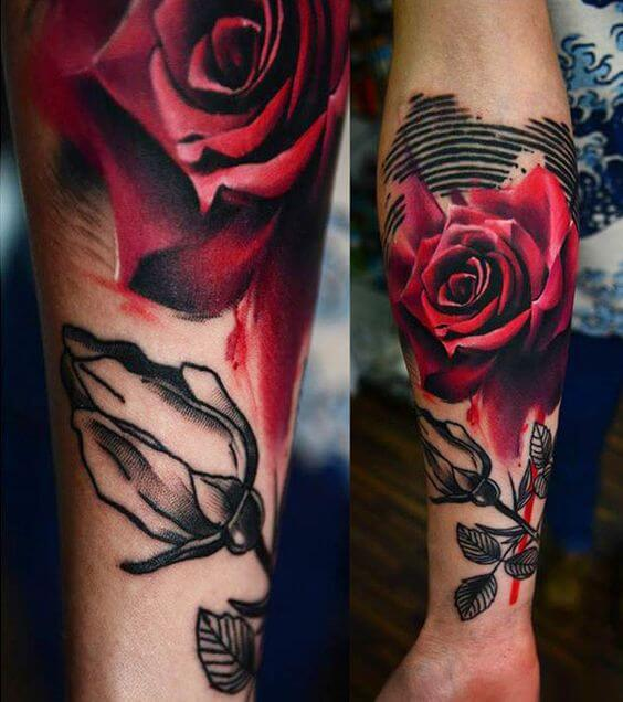 black and red rose bleeding drops of blood tattoo design on forearm