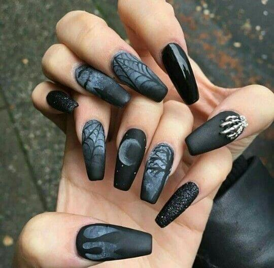 black matte emo halloween birthday nails design ideas