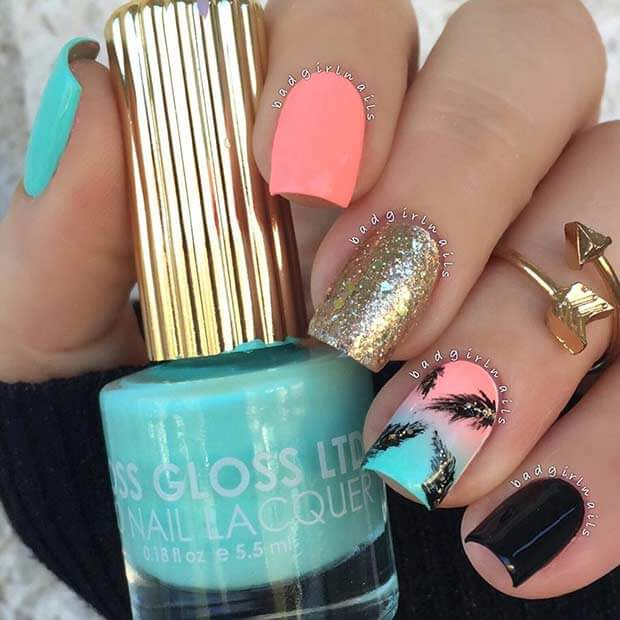 turquoise and pink palm tree summer nails