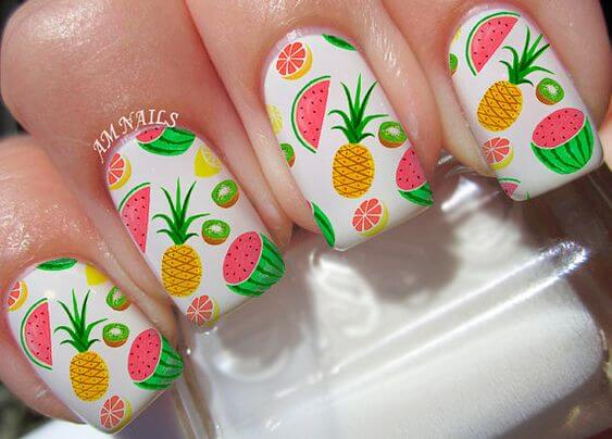 fruity watermelon, kiwi and pineapple stickers summer nails designs
