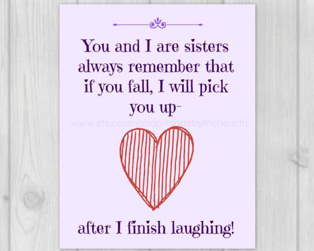 funny sisters quote image for valentines day