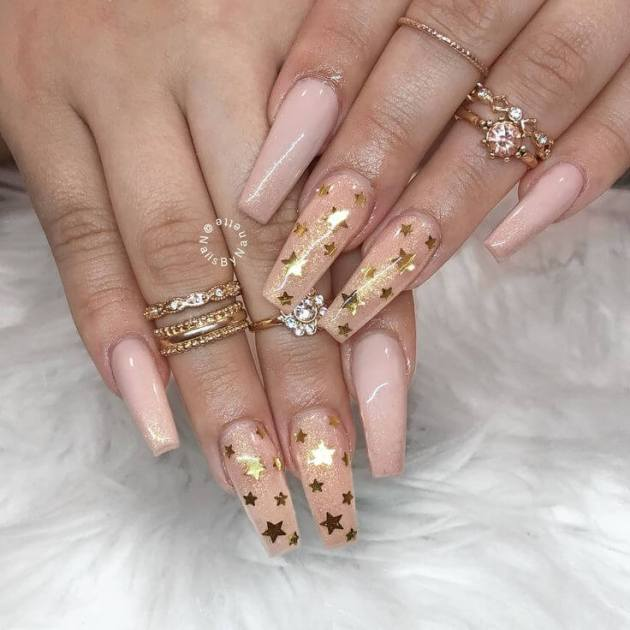 sparkling glitter gel stars birthday nails design