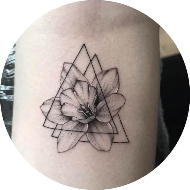 december birth flower narcissus with triangles tattoo