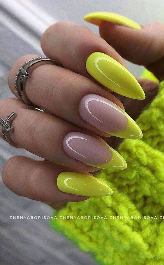 neon green and nude summer coffin nails