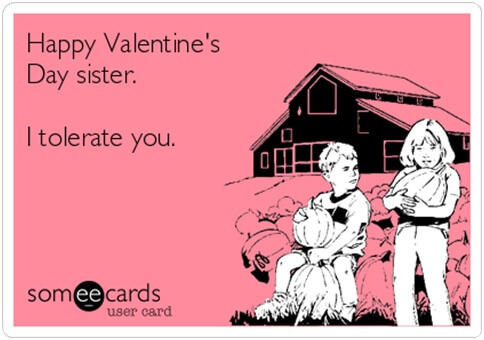 funny happy valentines day card image for sister