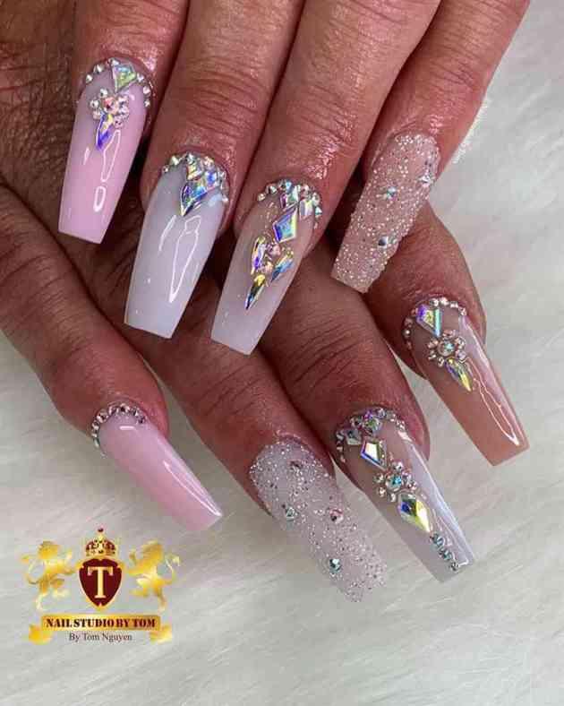 cute gel crystal rhinestones birthday nails