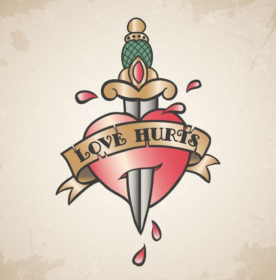 love hurts dagger in heart tattoo design drawing