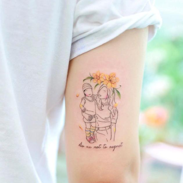 memorial mother child december birth flower tattoo with quote