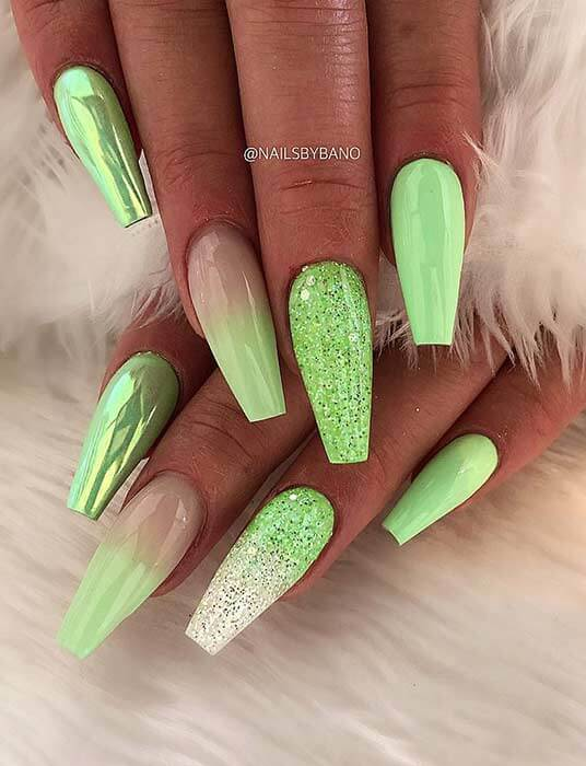 bright green metallic and glittery summer nails