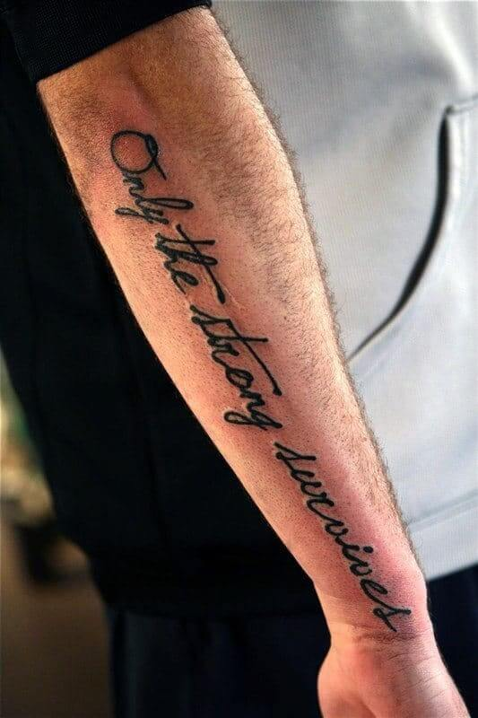 cool quote only the strong survives tattoo design on side forearm