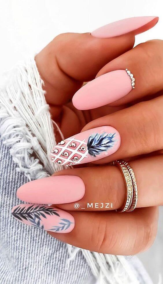 pink with white pineapple matte summer nails design