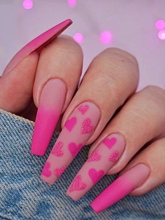 matte neon ombre long acrylic coffin pink hearts nails