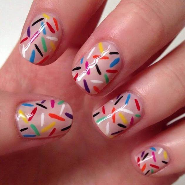 simple sprinkle birthday lights nails