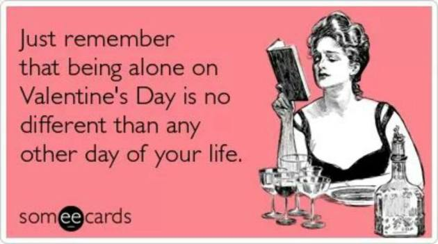 funny being alone on valentines day ecard image