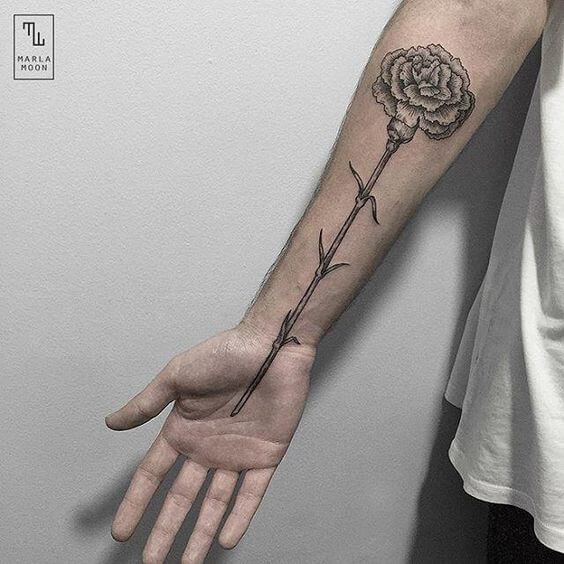 black and grey carnation January birth flower tattoo on front arm