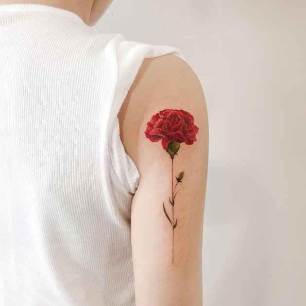 red carnation January birth flower tattoo design on back shoulder