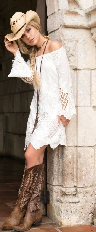 bohemian style white lacy short dress with hat and boots cowgirl outfit idea